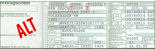 Alter Fahrzeugschein